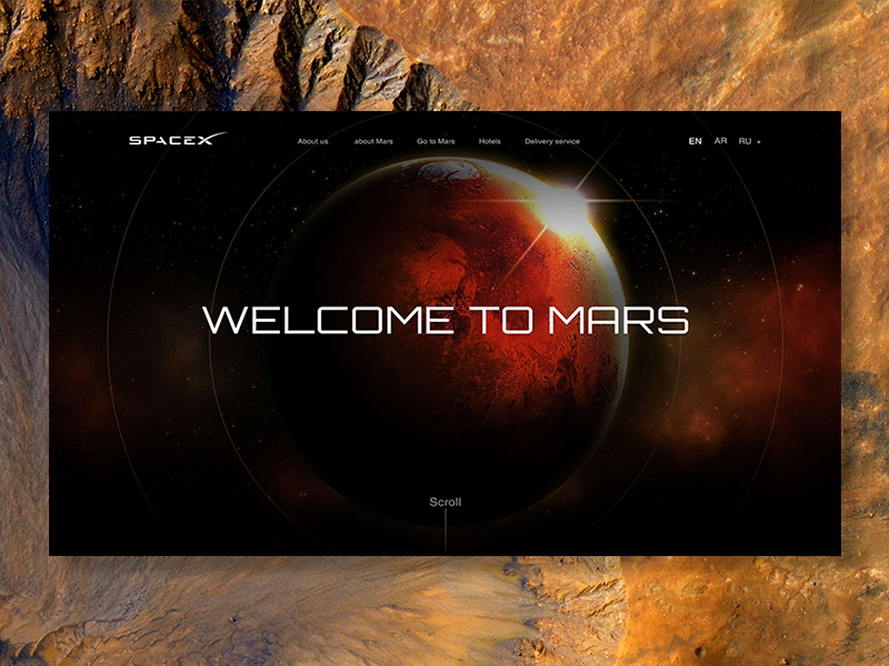 SpaceX website red stars planet ship travel mars design web space