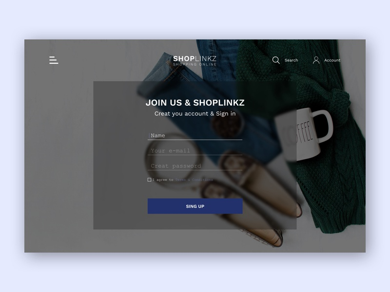 Sign up fashion clothes registration fields white smooth ui ux interface web design shopping