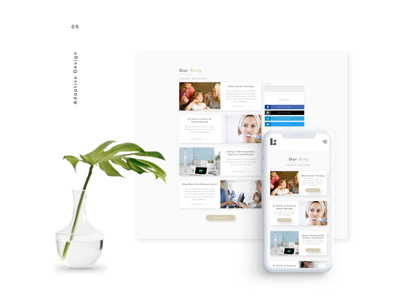 L.Dote dental clinic blog design adaptive mobile minimalistic clean white clinic dental ui ux interface web