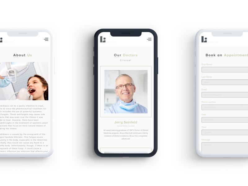 """L.Dote"" Dental clinic clinic dental web adaptive design white black interface mobile"