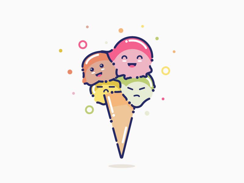 Ice Cream orange yellow green pink angry happy summer ice cream