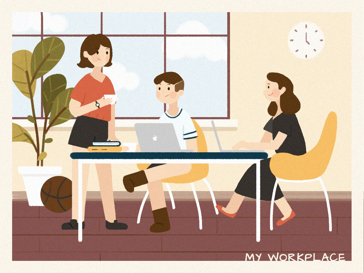 Illustration Challenge - Day 3 - My Workplace girl boy plant discuss workplace work ui illustration