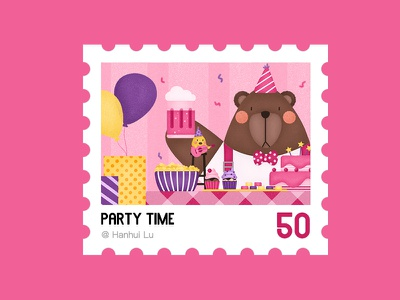 Illustration Challenge - Day 11 - Party Time birthday ballon gifts chicken food party stamp bear ui illustration