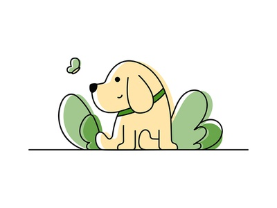 Line art illustration-MyDog linework line art dog labrador retriever illustration ui