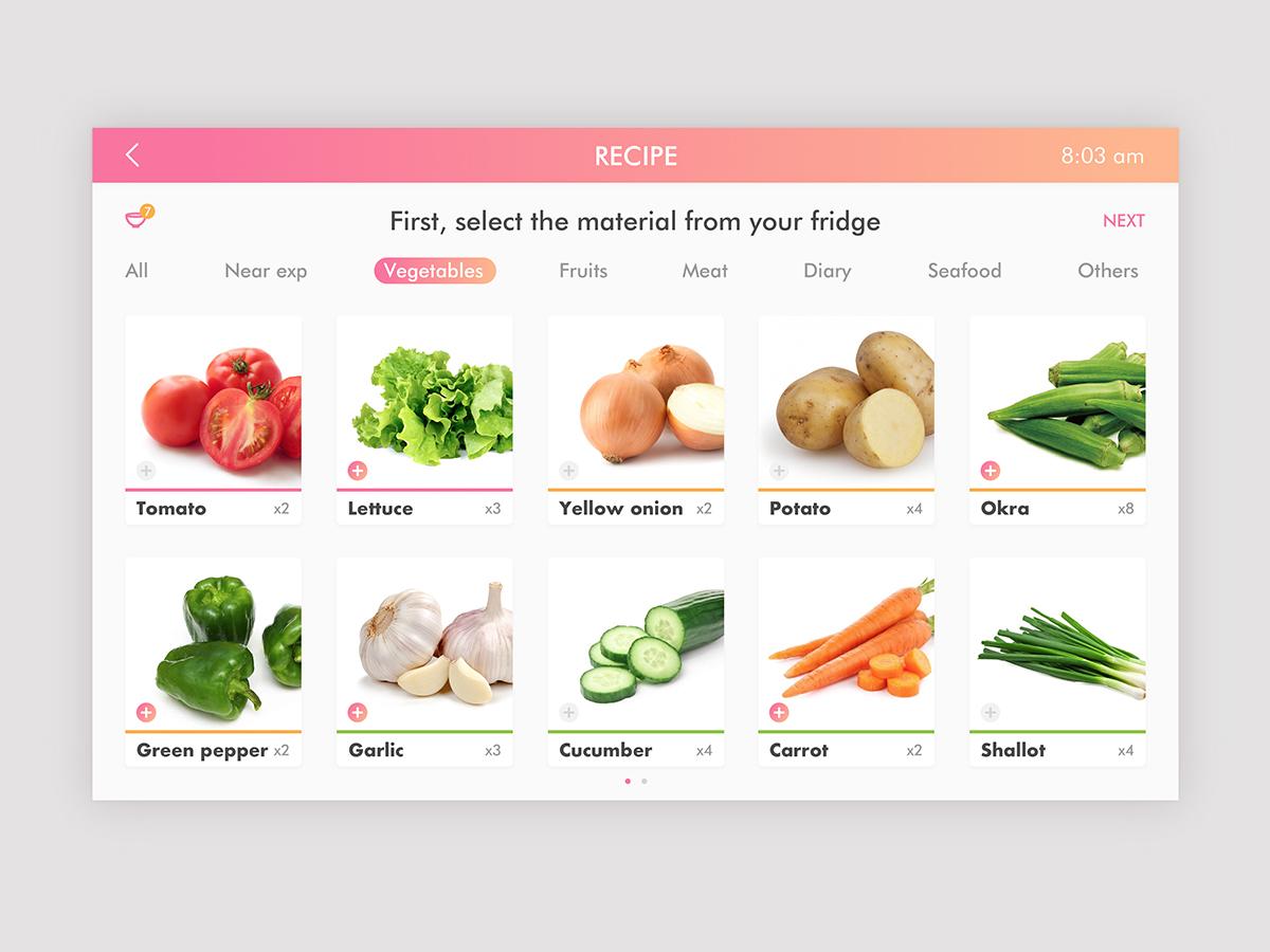 Smartfridge interface design-1 waste management dashboad food app fridge smart home ui