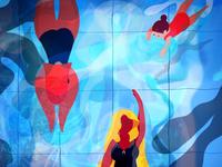H2O obsession🏊♀️🏊♂️ leaves clean branding inktober fantasy procreate water flat design illustration