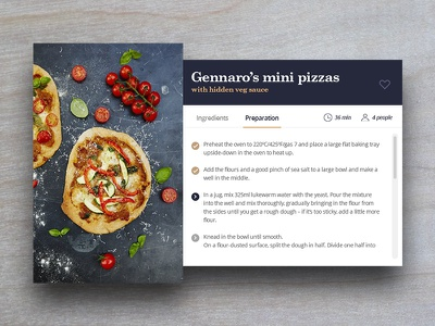 Day 009 - Recipe Card food pizza challenge 100 daily design ui card recipe 009 day
