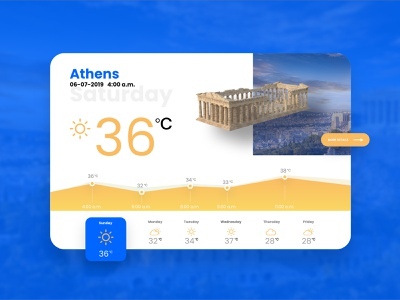 Day 010 - Weather Widget greece adobexd designer interface weather app athens vector concept daily 100 ui challenge design
