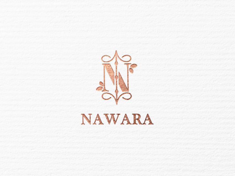 NAWARA lux logo design logo design branding luxurious luxury rose gold beauty product typography beauty logo beauty simple icon minimalism logo modern minimal identity design branding brand