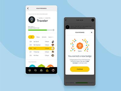 Directly Platform: Badges mobile app icons gamification levels leaderboard product design uxui ux badges platform