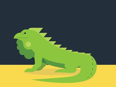 Iguana illustration iguana animals abc flat color simple
