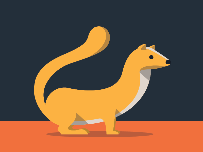 Weasel illustration weasel animals abc flat color simple