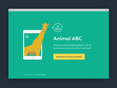 Animal Abc Landing / Simple landing landing page web illustration giraffe animals abc flat color simple page