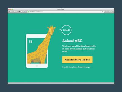 Animal ABC App live app animal abc app design landing page ios app color animals giraffe