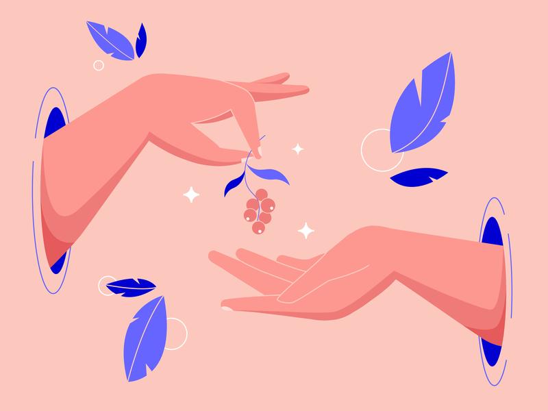 Hands with berries pink 2d graphic adobe illustrator stars berries leaves hands flat vector design illustration