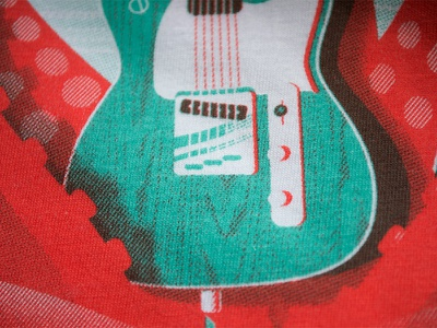 Screenprint Feaver Shirt octopus telecaster guitar feaver screenprint overprint