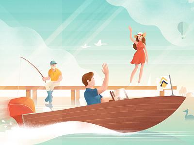 Summer water waving girl fishing boat heijmans