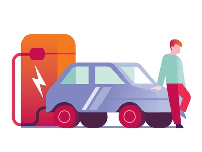 Electric Energy infographic guy electriccar energy electric car illustration