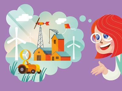 Q Mod illustration 1 children book illustration childrens illustration girl farm world energy windmill wind