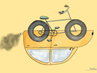 Cycle over car illustration