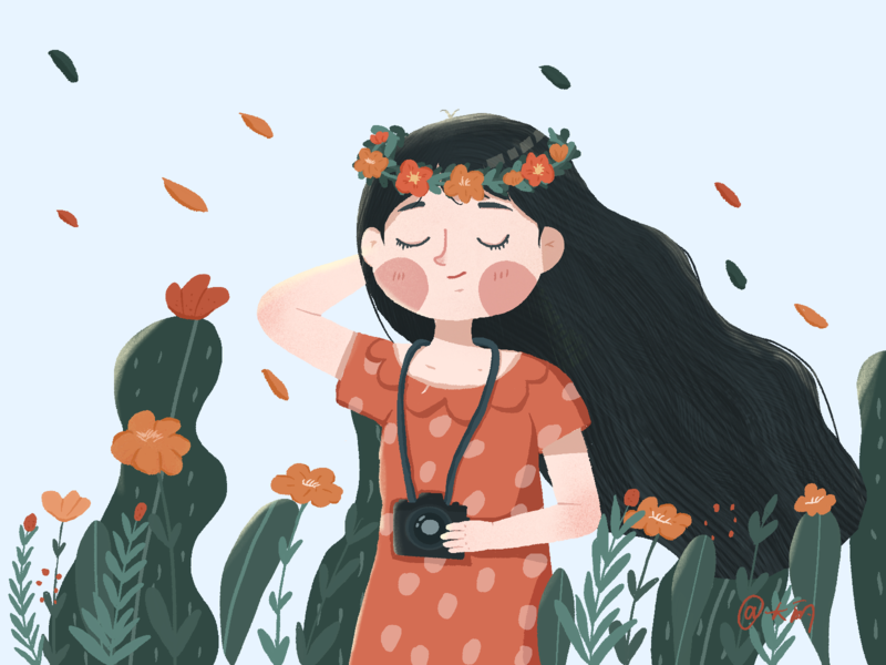 Spring girl illustration flat design illustraion
