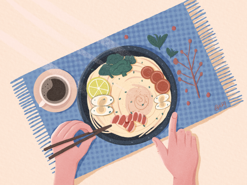 Having dinner flat illustraion design
