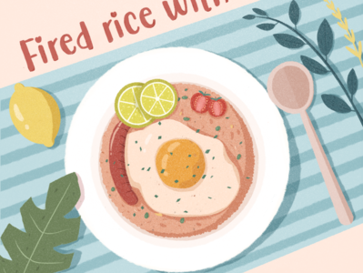 Fired rice food flat illustraion design