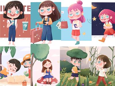 Children's illustration child children girl flat illustraion design