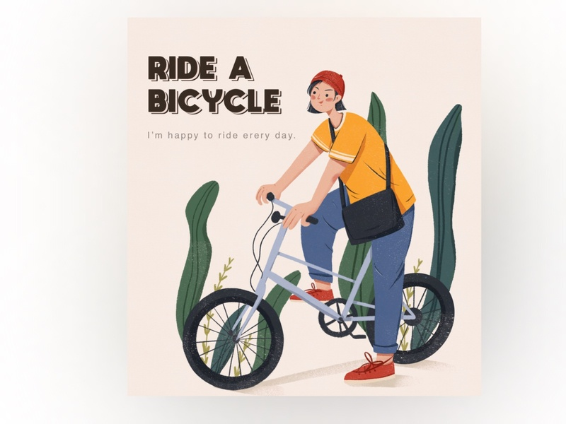 Ride a bicycle spots girl flat illustraion design