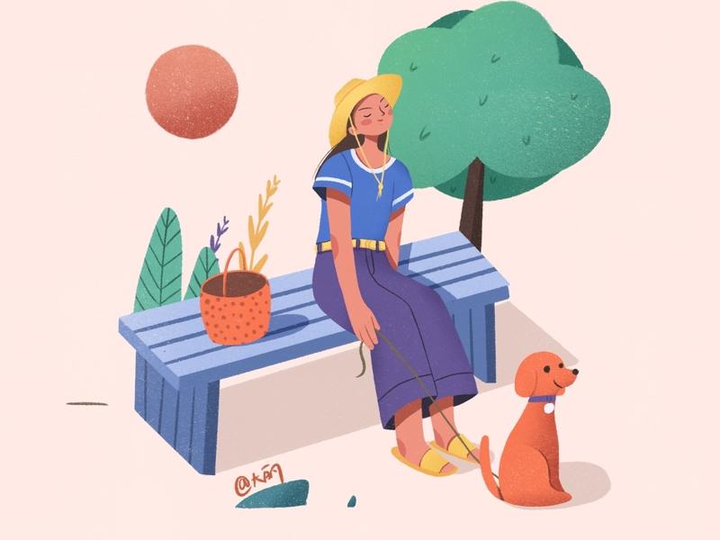 Walk a dog web ui girl flat illustraion design