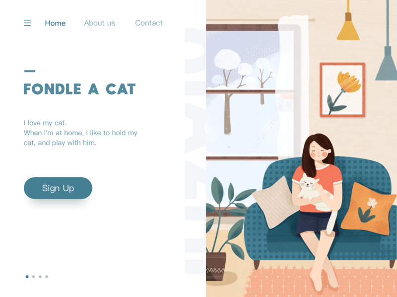 Girl  and cat web flat design illustraion