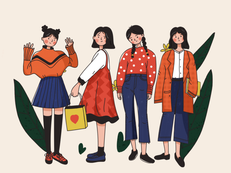 Girls flat design illustraion