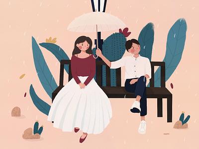 Lovers flat design illustraion