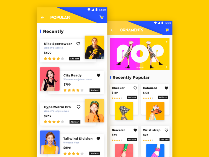 E-commerce application_2 yellow color design app 电子商务 ux ui