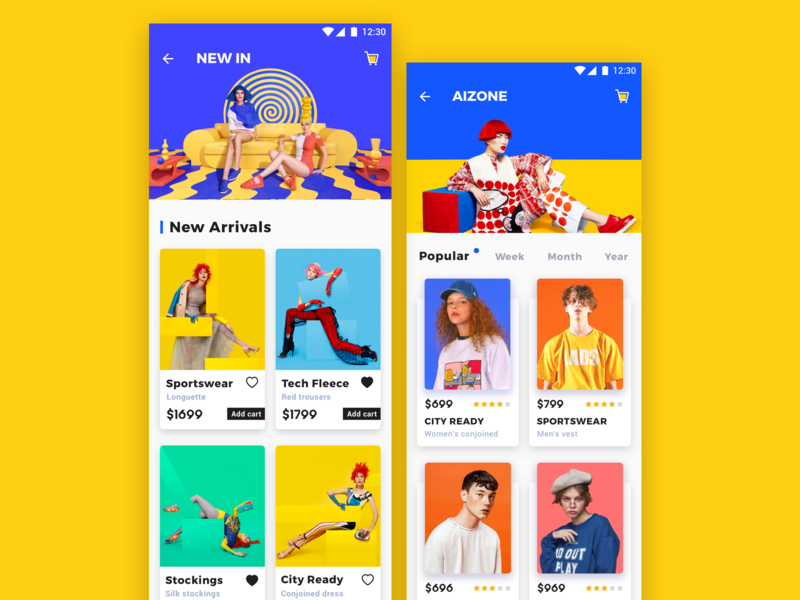 E-commerce application_3 e-commerce color yellow design app ux ui