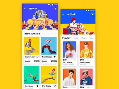 E-commerce application_3 e-commerce color yellow design app ux ui