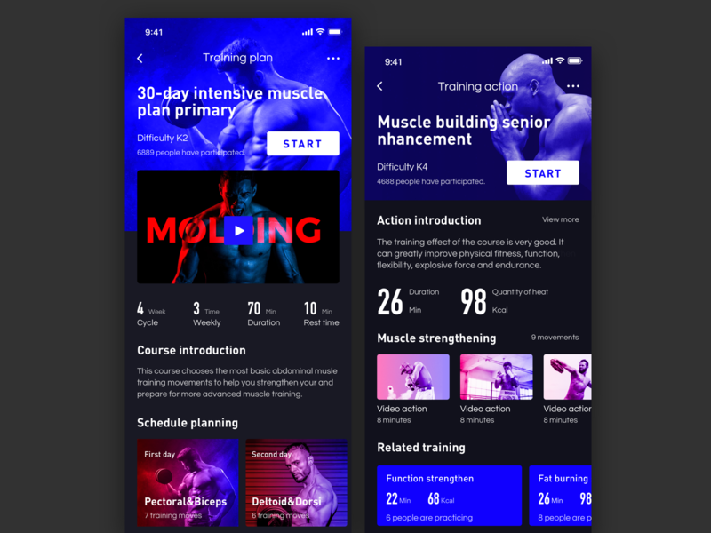Fitness exercise application_2 exercise fitness app bodybuilding color design app ux ui