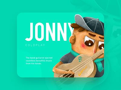 Jonny cute green color children music coldplay illustration