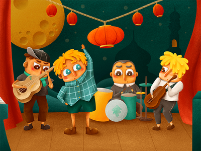 Christmas lights band christmas stage lantern wallpaper cute show color children music coldplay illustration