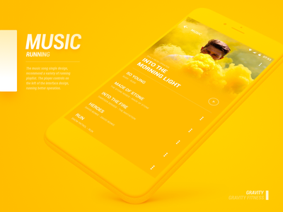 Music ux ui running haze material yellow music design color android