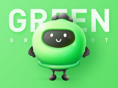Green Dot doll mascot sketch game cute cartoon green cool color illustration