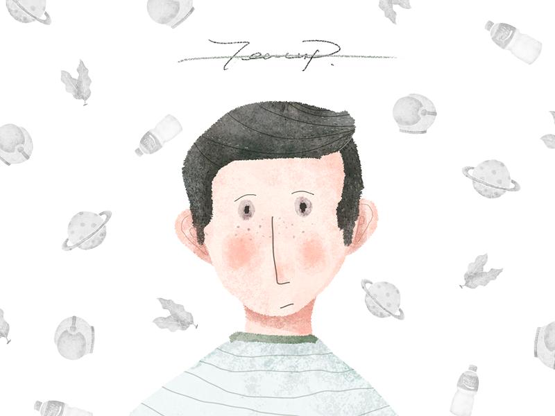 I'll try portrait fresh forest watercolor star illustration dark clean color boy