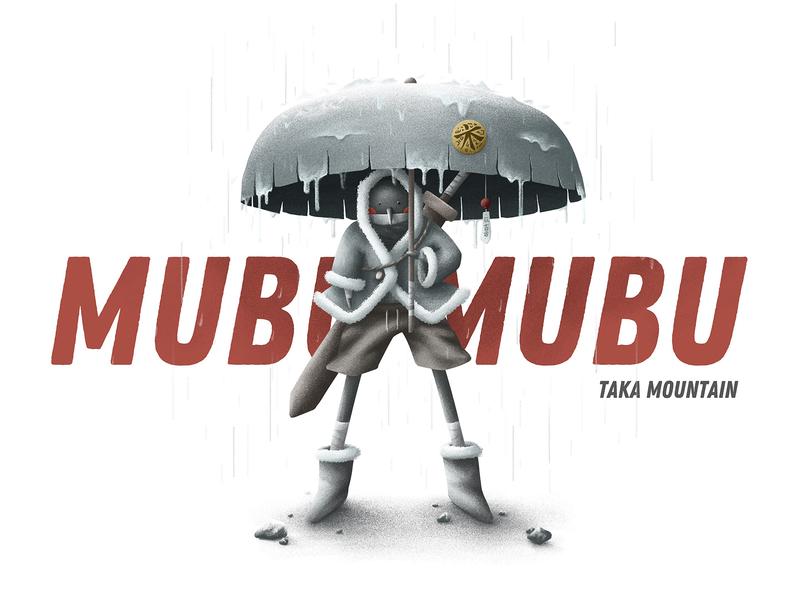 Taka Mountian umbrella rain mysterious ninja design cartoon cute cool color illustration