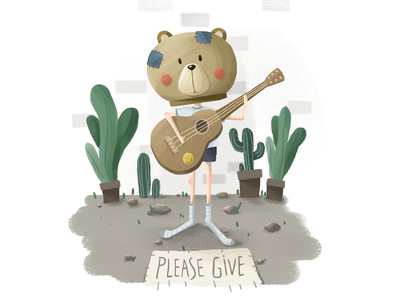 Please Give draw bear music guitar cartoon cute design cool color illustration