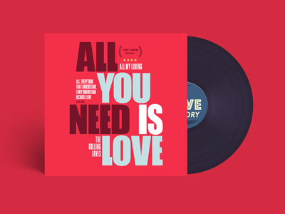 Vinyl - all you need is love color valentine love cover beatles disc music vinyl illustration