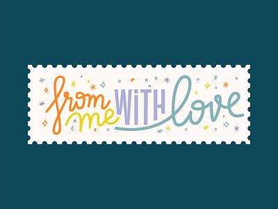 Stamp 1 vector illustration script post star color logo typogaphy valentine love stamp