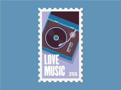 Stamp 3 valentine day valentine love illustrator minimal vector color stamp player vinyl music illustration