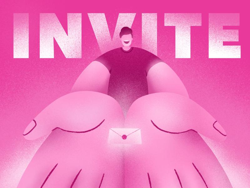 A Dribbble Invitation pink invite dribble illustration dribble invites dribble invite