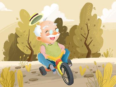 amused grandpa happy illustrations