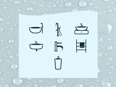 7 simple icons water bathroom monochrome flat icons